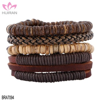 1 Set Men S Jewelry Vintage Bracelets Bangles Gift Boho Rock Beads Multilayer Mens Wooden Leather Bracelet