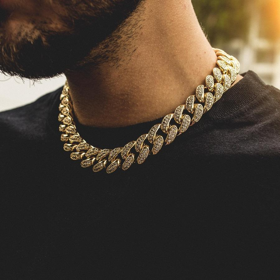 Wholesale Hip Hop Men 316l Stainless Steel Gold Necklace 14K 18k Gold Rope Chain