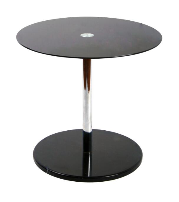 black one leg glass table round disk based table leisure coffee bar table