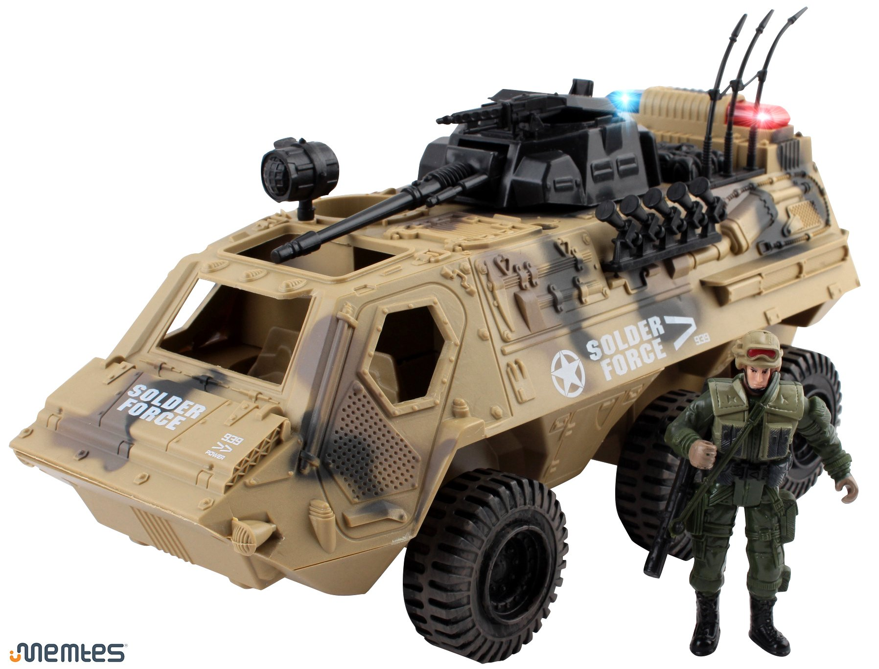Memtes Military Fighter Army Truck Tank Toy with Mini Army Soldier with Lights and Sound