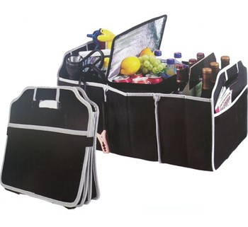 Collapsible trunk organizer with a zippered cooler, Folding trunk organizer, Car Collapsible Trunk Organizer with Cooler