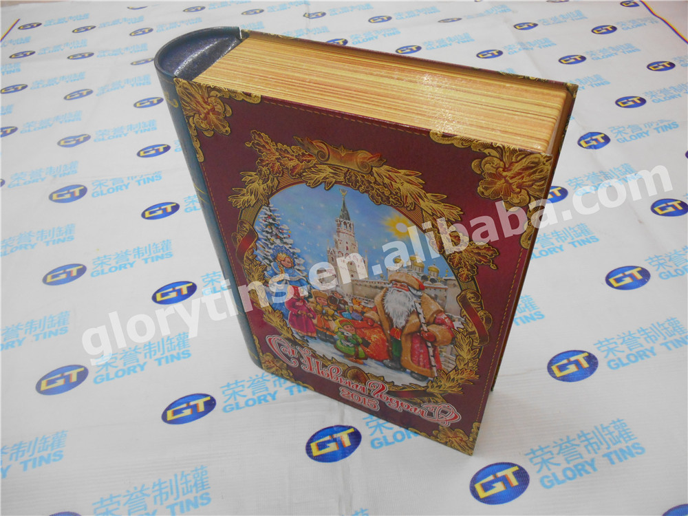 beautiful printed book shape box with embossing, custom gift tin box