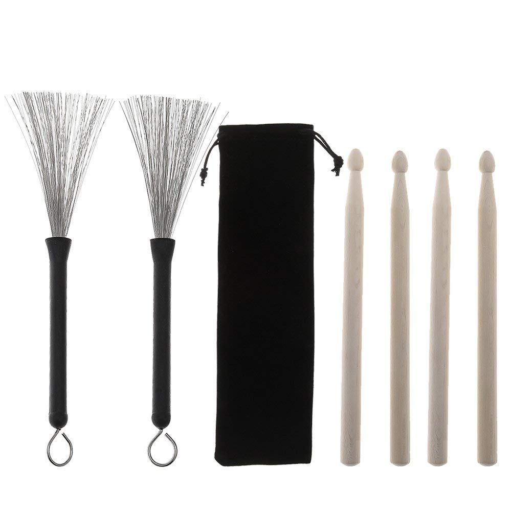 Stagg SBRU20-WM Telescopic wire brushes with Wood handle DRUM STICKS