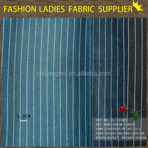 E shaoxing textile top quality zhejiang denim jeans fabric factory slub elastane and cotton denim fabric stripe denim