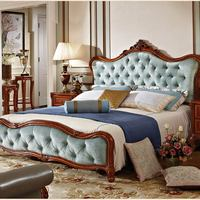 Neo-classical French Style furniture solid wood genuine leather Tufted bed