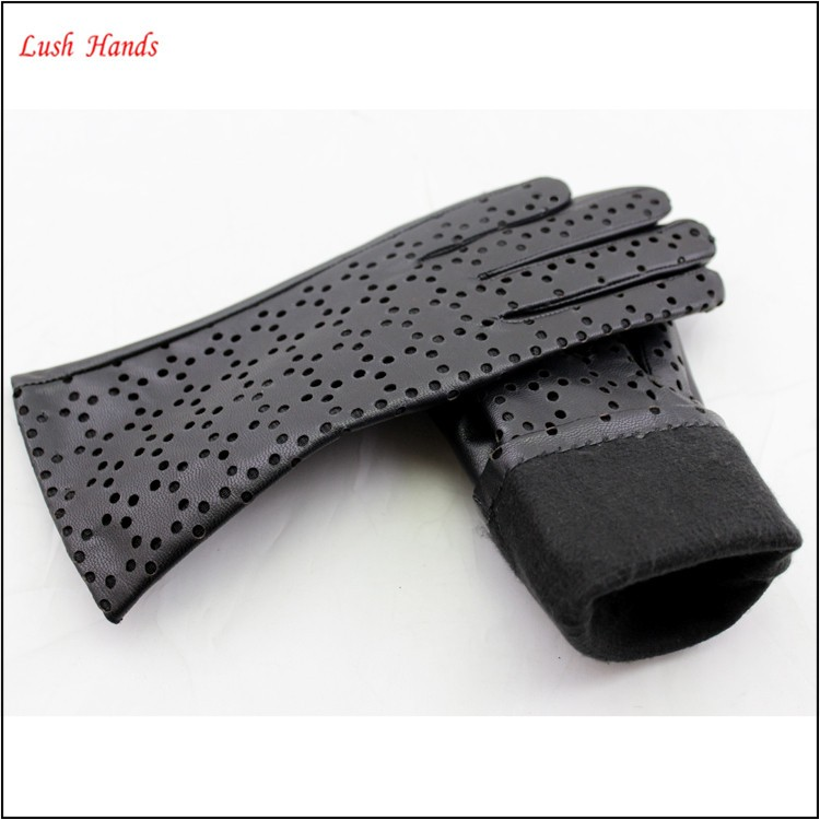 new style genuine leather black leather glove with hole