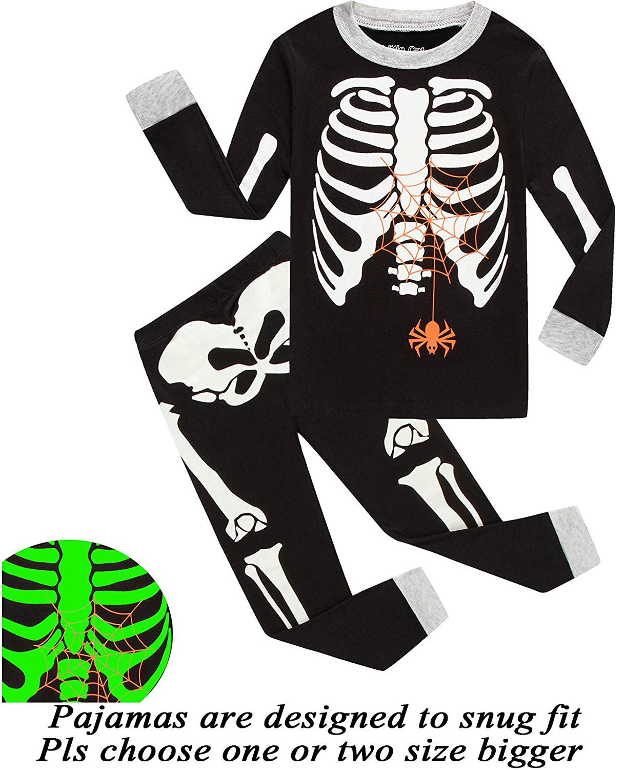 342bd4ea61c Get Quotations · Boys Halloween Pajamas Skeleton-Glow-in-The-Dark Toddler  Pjs Kids Clothes