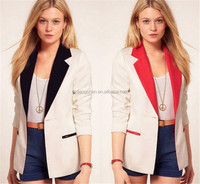 Ladies formal western wear blazer women business suit 3/4 sleeve jacket suit coat lapel contrast color blazer