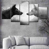 Canvas Wall Art Modular Picture 5 Panel Animal wolf Canvas Painting Modern poster wall art Living Room Decorative Frames