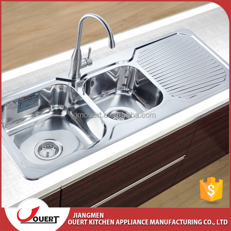 High quality 304 stainless steel double drainer double bowl kitchen sink