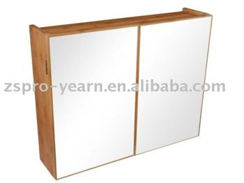 Modern Bamboo Bathroom Wall Mirror Cabinet With Two Doors Adjule Shelves Concealed Metal Hinge And