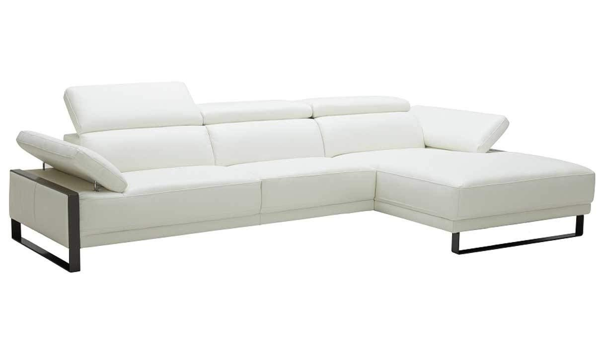 J&M Furniture Fleurier Premium Leather Right Facing Sectional Sofa in White