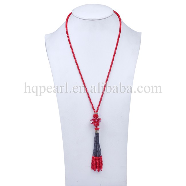 Sale necklace jewelry red crystal with glass seed bead tassels fashion necklace