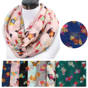 Lightweight Large Womens Lady Polyester Dog Animal Printing Snood Infinity Scarf
