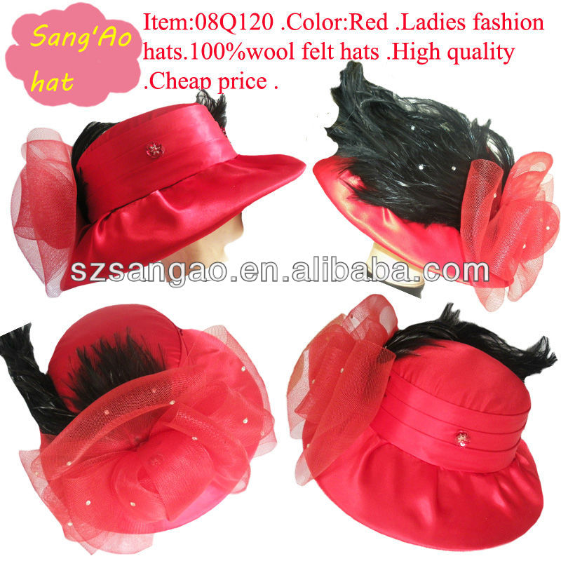 OEM/Customized new fashion Red fedora party hats floppy as feathers felt dance warm caps 100% wool felt wear for girls/kids