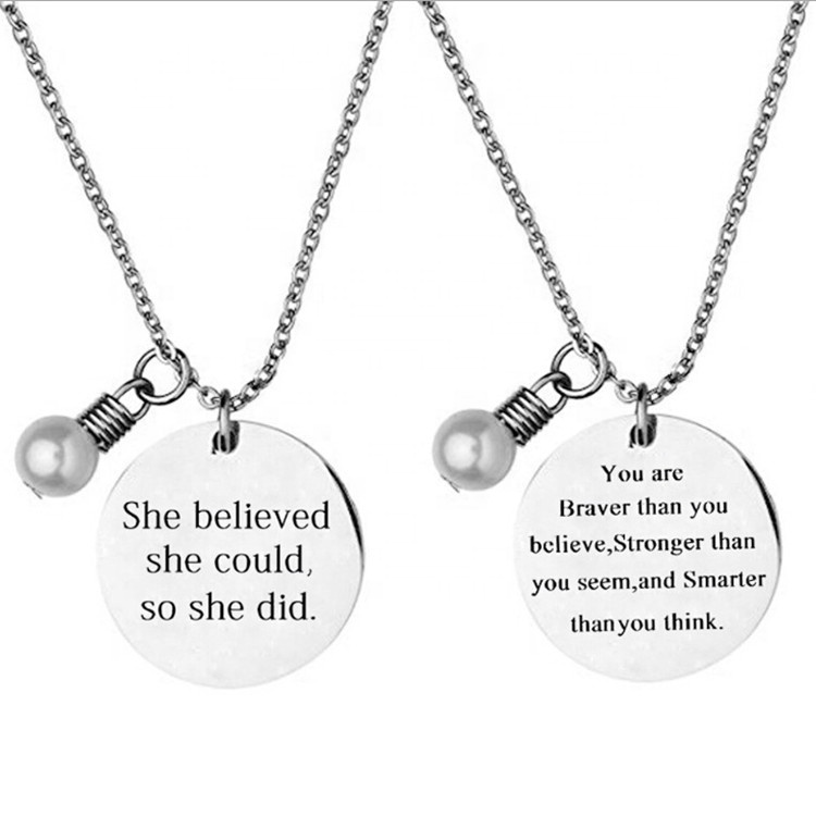 Custom 영감이 말 할 필요 Letters 새겨진 Round Stainless Steel 펜 던 트 Necklace 와 pearl charm