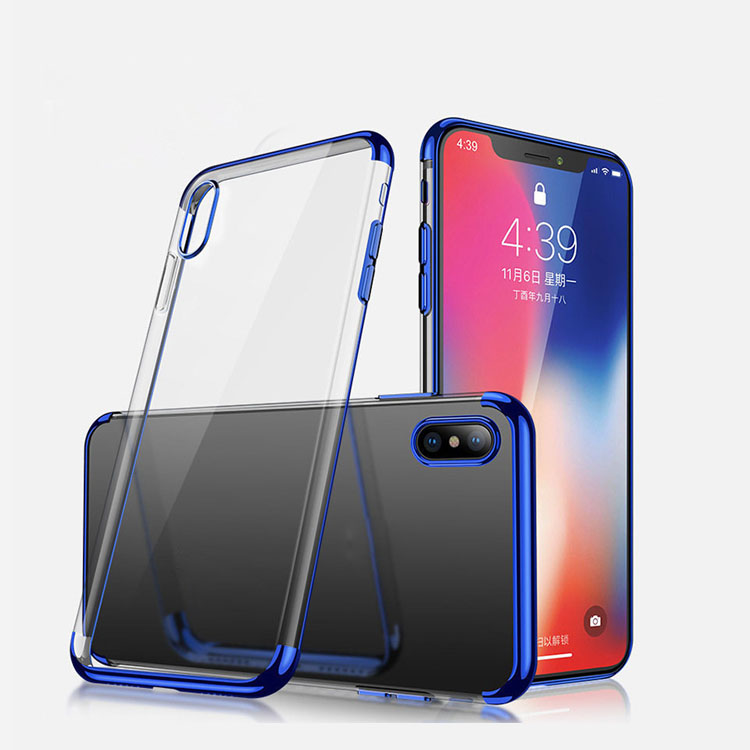 Electroplating soft TPU Phone Case for iPhone XS MAX Clear Transparent Ultra Thin Slim Flexible Back Cover for <strong>Apple</strong> 6.5 inch