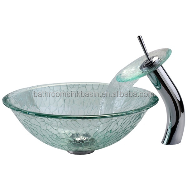 hand-painting color vessel sink /tempered glass basin with waterfall ...