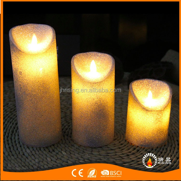 Hot sale Yellow Flickering Moving Flame LED Pillar Wax Xmas Decorative Candles Light
