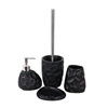 Utility and fashionable black sunken surface resin cheap bathroom accessories sets