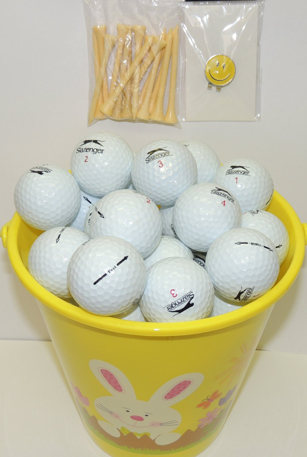 067bbfcf0e Get Quotations · Yellow Easter Pail With 48 Recycled Slazenger Golf Balls &  Tee's & Smiley Face Magnetic Golf
