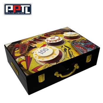 Lacquer Finish 500 Poker Chip Wooden Box Set