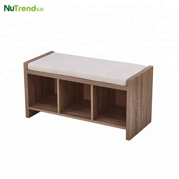 Wood Storage Bench With Cushion Simple Shoe Chair Racks Design
