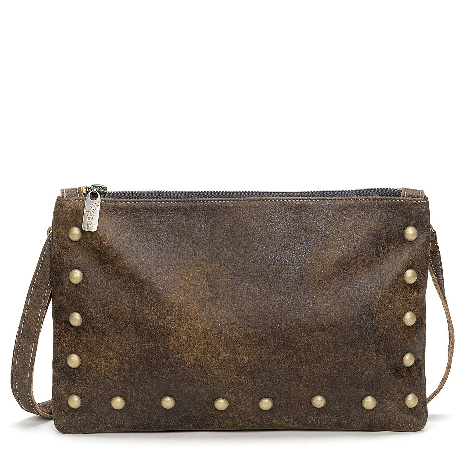 394cd450fa Get Quotations · Rustic Brown Italian Studded Leather Large Crossbody Clutch