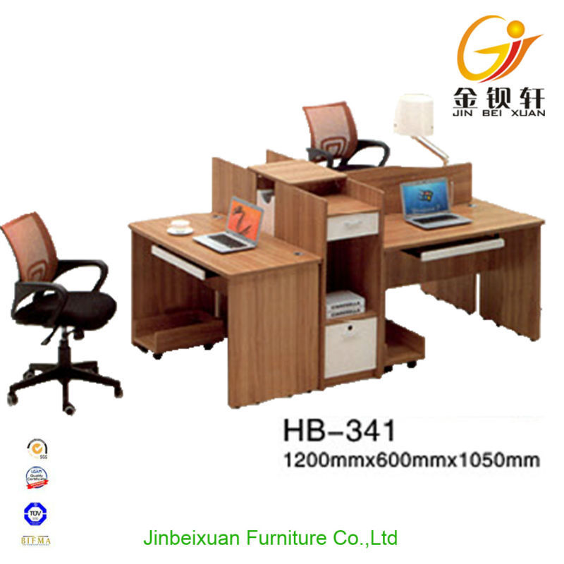 Simple design wood panel 3 person office workstation/office furniture