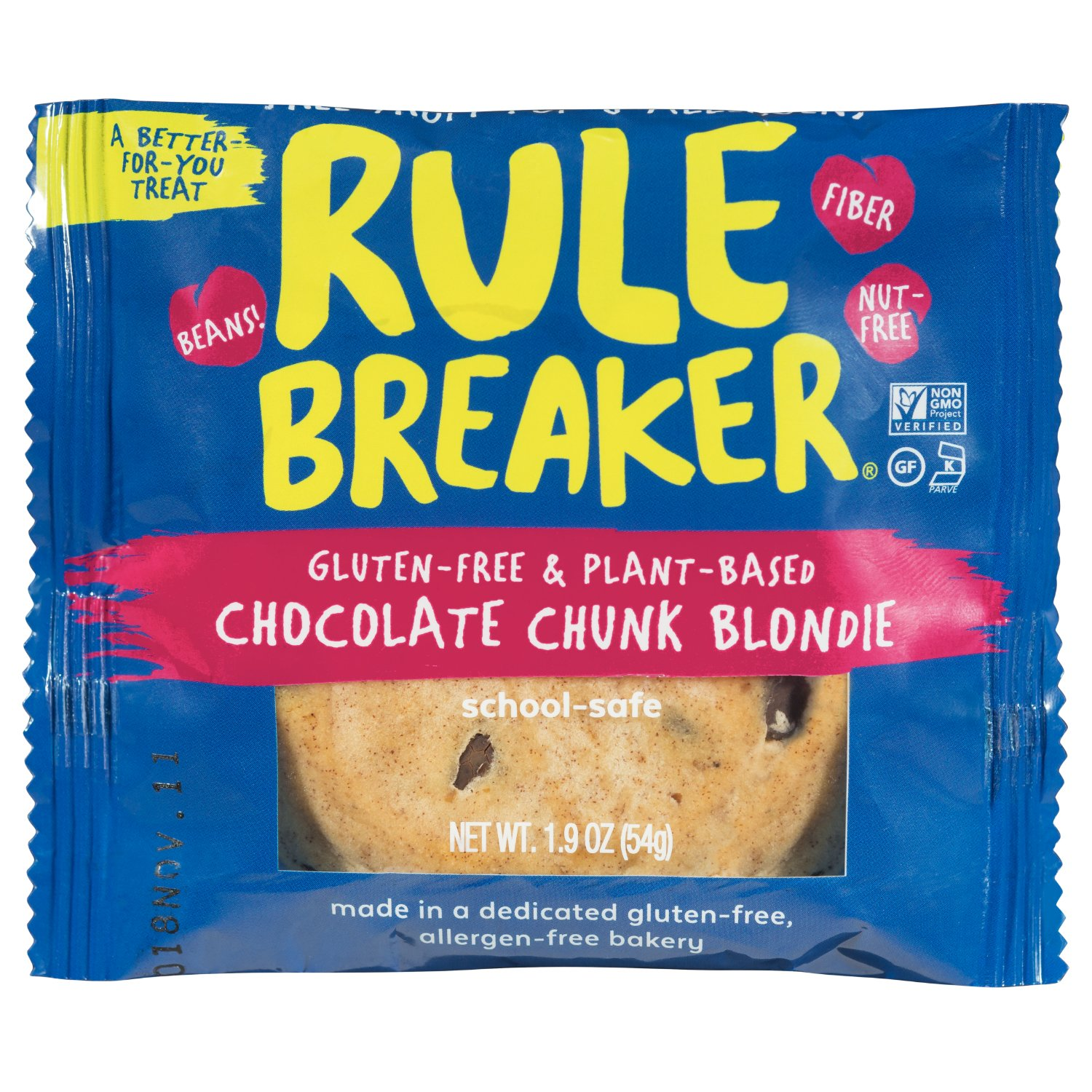 Rule Breaker Snacks, Chocolate Chunk Blondie, Healthy and Unbelievably Delicious, Vegan, Gluten Free, Nut Free, Free from Top Eight Allergens, Kosher (12ct pack)