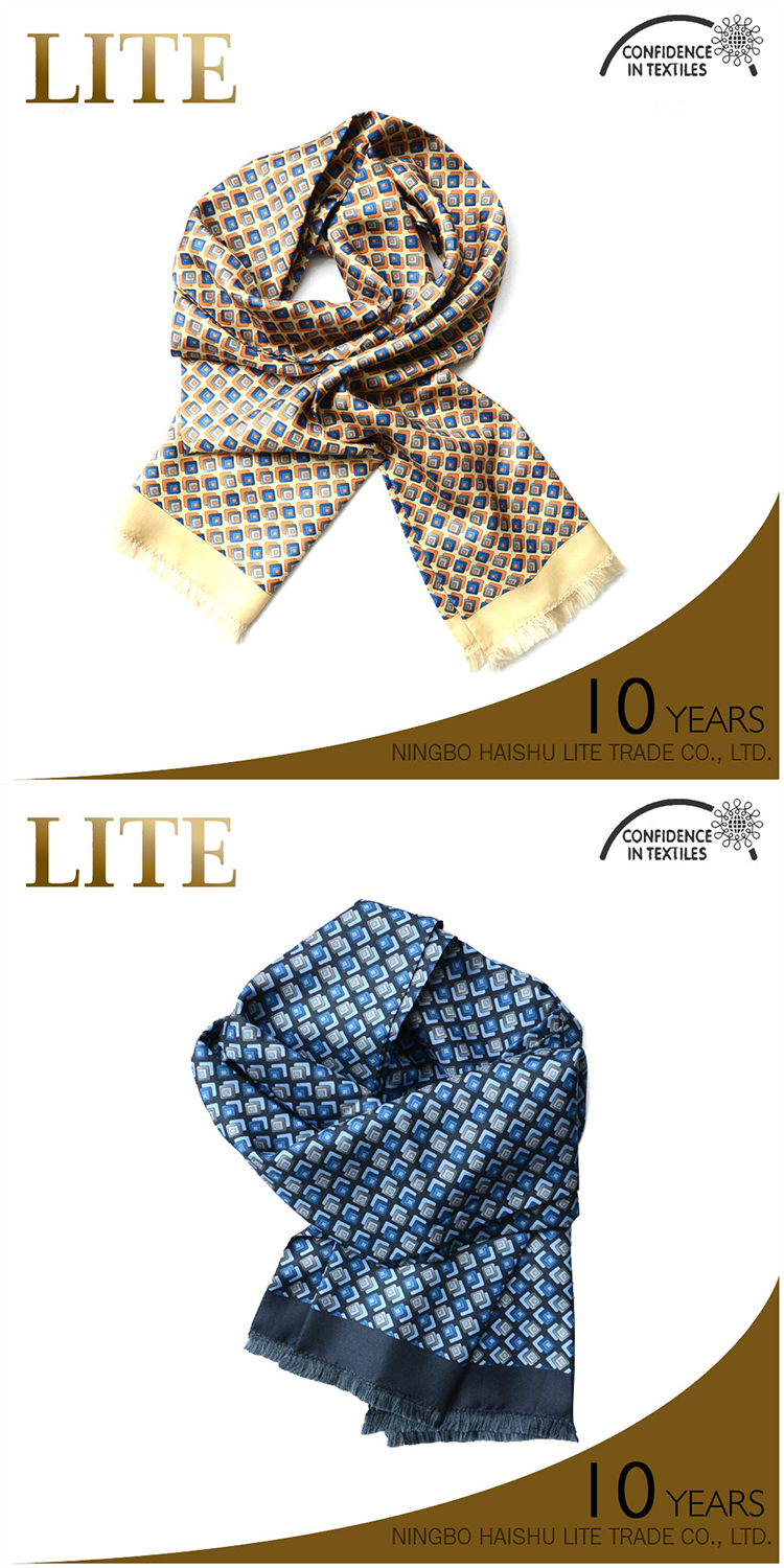 Factory custom new design high quality digital printed mens silk scarf