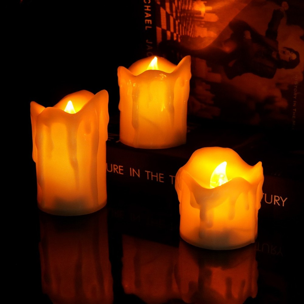 2017Newest 3pcs/Set of LED Pillar Yellow Flameless Candle