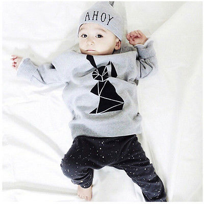 Toddler Baby Boy Girl Rabbit Tops T shirt Pants Hat 3pcs Outfits Set Clothing
