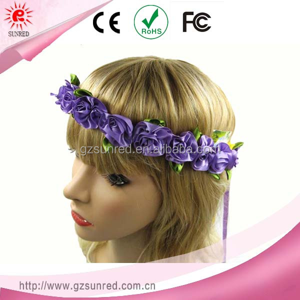 Wedding Hair Accessories Purple Flowers Headband For Bride