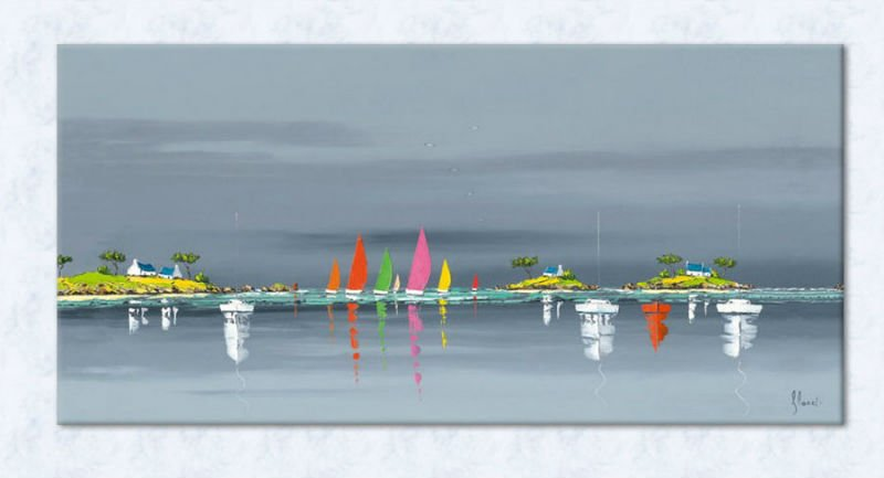 product gs sailing boats on the sea canvas art landscape painting