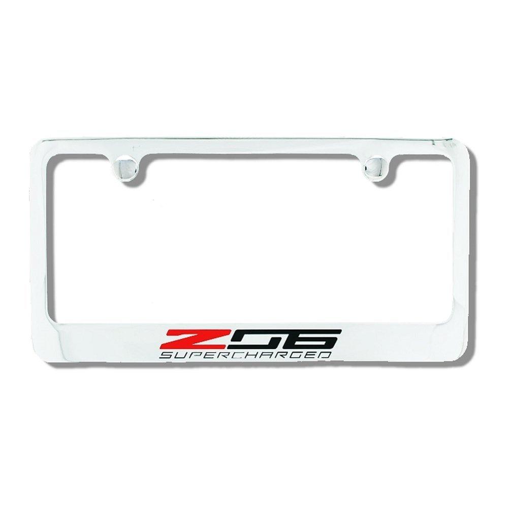 C7 Corvette 2015+ License Plate Frame Z06 Supercharged Script - Chrome