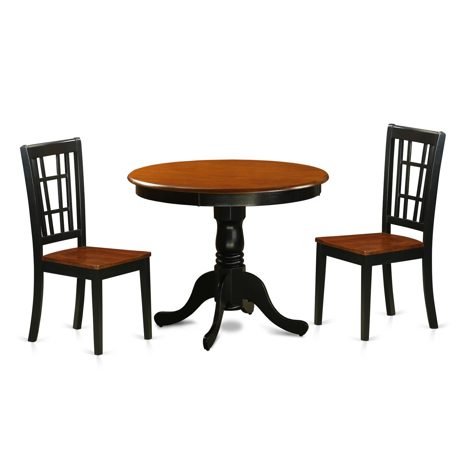 East West Furniture ANNI3-BLK-W 3 Piece Dining Table with 2 Wood Antique Chairs, Black/Cherry Finish