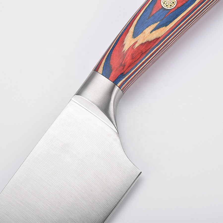 Asiakey colorful pakka wood chef knife with 7Cr17Mov blade