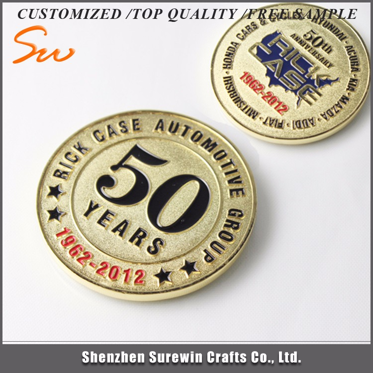 Custom Metal Gold and Silver Souvenir Medallion Stamping Challenge Coin