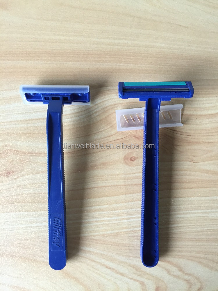 Made your brand name on handle blue 2 cheapest twin blade with lubrciate strips