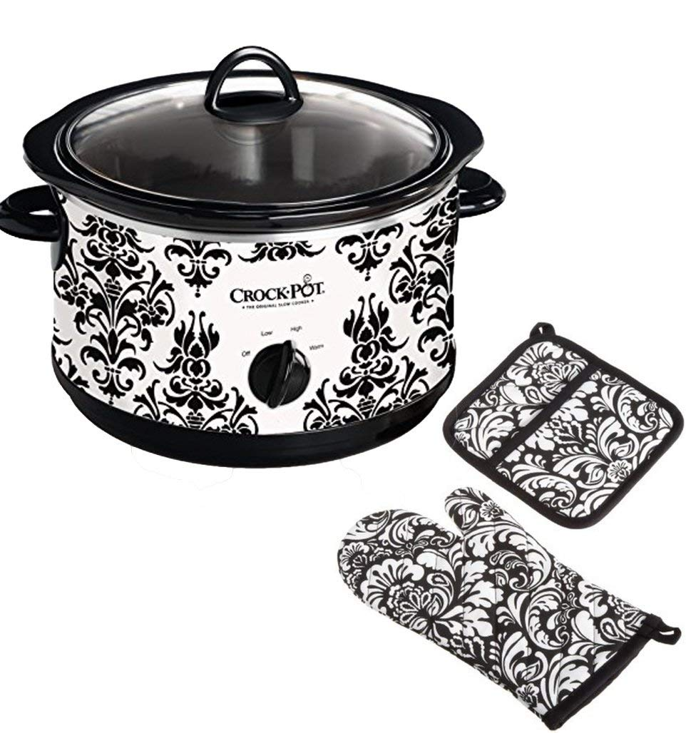 "Bundle Includes 2 Items - Crock Pot 4-1/2-Quart Slow Cooker, Black Demask Pattern (SCR450-PT) and DII Cotton Damask Oven Mitt 12x6.5"" and Pot Holder 8.5x8"" Kitchen Gift Set, Machine Washable"
