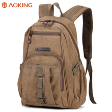 Aoking 2017 New heavy duty outdoor leisure custom vintage canvas backpack