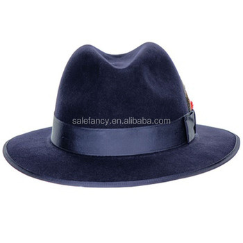 540b373ca1b93 Stacy Adams Mens Royal Blue Wool Felt Crushable Snap Brim Feather Fedora Hat  BHAT-2389