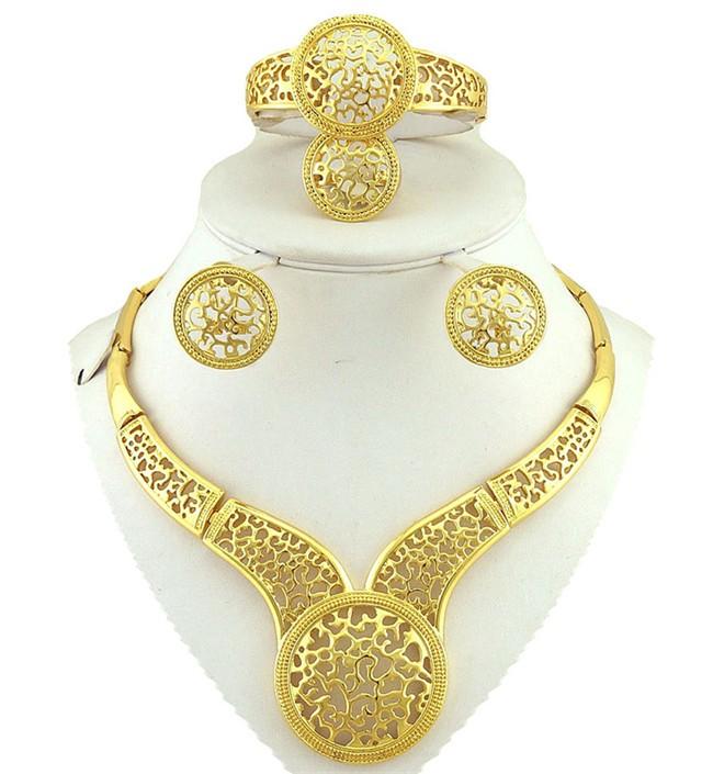 ציפוי זהב תכשיטים ses אפרו זהב תכשיטי אופנה להגדיר בסדר סטי תכשיטי נשים שרשרת גדולה