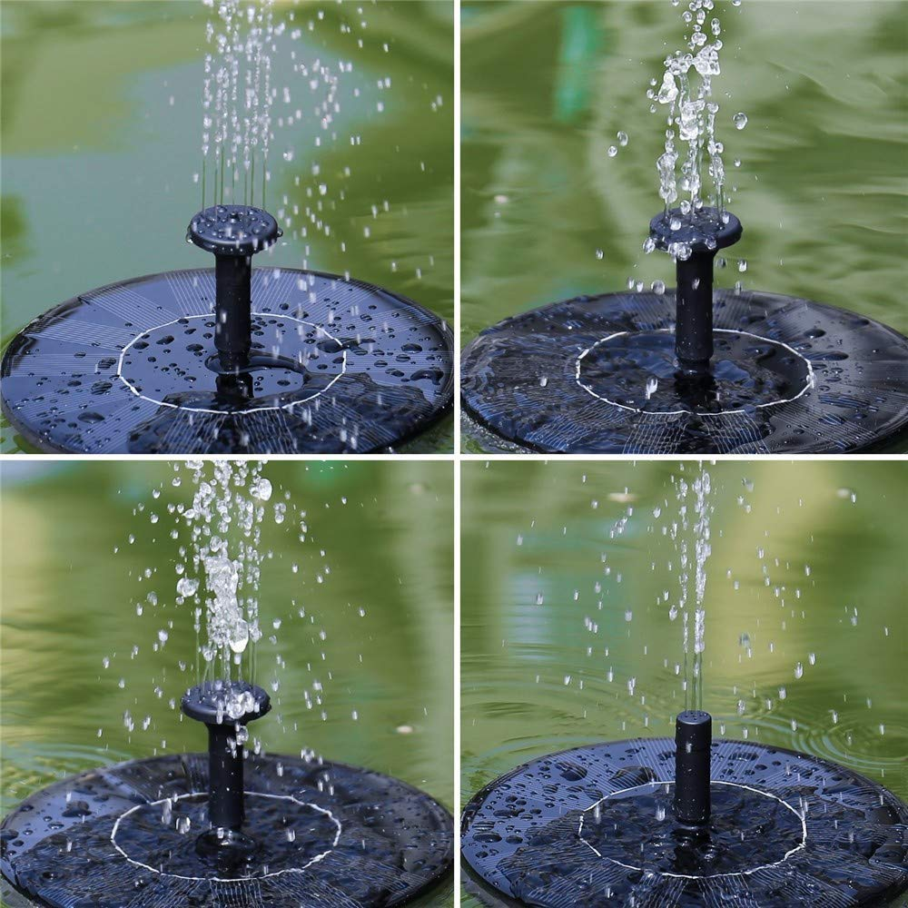 Elaco Fountain Water Pump, 2Pcs Solar Power Bird Bath Fountain Water Floating Pond Garden Patio Decoration