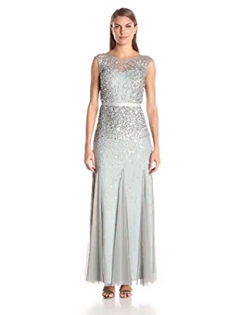 c1983acbea49de Buy Adrianna Papell Womens Long Beaded Gown with Illusion Neck in ...