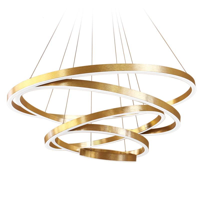 MEEROSEE Large Rings LED Pendant Lights Gold Hanging <strong>Lamp</strong> for Restaurant Acrylic Circle Lampadario Lustres Lighting MD5066