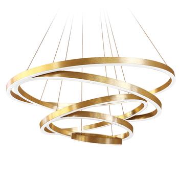 Acrylique Buy Restaurant Pendentif Cercle Lampadario Or Grands Lumières Suspendue Lustres Éclairage Led Lampe Pour Md5066 Meerosee Anneaux m0wOvyPN8n