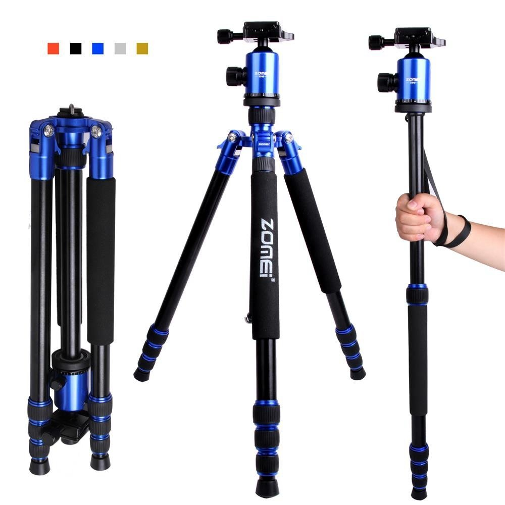 "Zomei Camera Tripod 65-inch Lightweight Tripod, Monopod Tripod, Aluminum Portable Detachable Monopod, 360 degree Ball Head, 1/4"" Quick Release Plate with Carrying Bag for Canon Nikon Sony Load (Blue)"