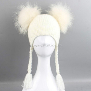 Cheap winter beanie racoon fur ball pompom hat baby hats with pom-pom